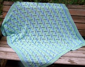 Baby Blanket --  Knitted Blue, Green and White