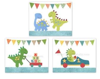 Perfect trio of 8x10 prints for nursery or children's room - dinosaurs, ABC, 123, race car, go kart - Nursery Wall Art Print, set of 3