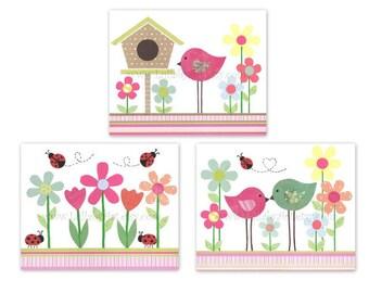 Perfect trio of 8x10 prints for girl's nursery or children's room - springtime, birds, flowers, ladybugs, Nursery Wall Art Print, set of 3