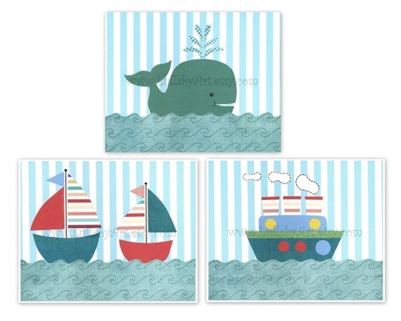 Perfect trio of prints for nursery or children's room- sailboat, nautical, tug boat, whale, ocean theme - Nursery Wall Art Print, set of 3