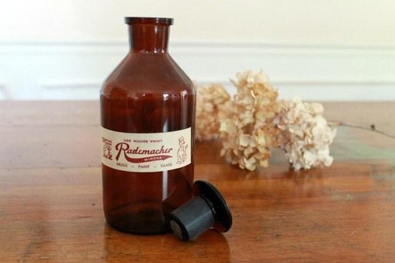 Vintage Brown Apothecary Jar w/ Lid