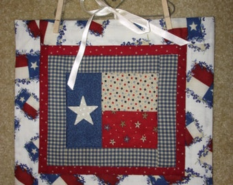 Texas flag quilted wallhanging bluebonnet border Lone Star