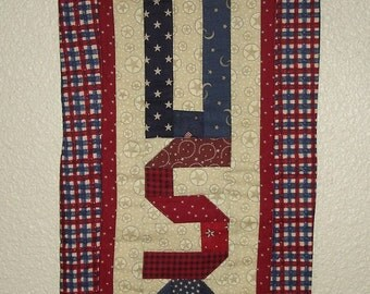 USA letters quilted wall hanging with wire hanger red plaid border FREE SHIPPING
