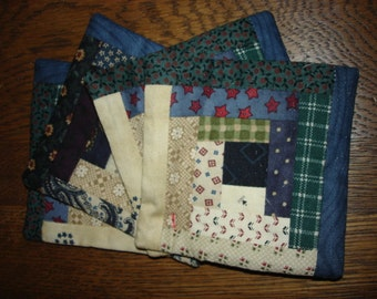Set of 4 scrappy  coasters log cabin quilted  FREE SHIPPING