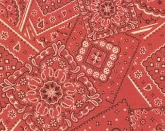 BUNK HOUSE faded red bandana cotton print one yard Moda 15490-11