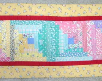 FREE SHIP Log Cabin Aunt Grace 30s reproduction fabrics scrappy quilted table runner-9 by 24 inches-yellow, green, pink, red