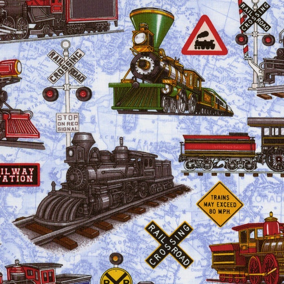 Just train crazy rjr trains locomotives on by countrystittches for Train fabric by the yard