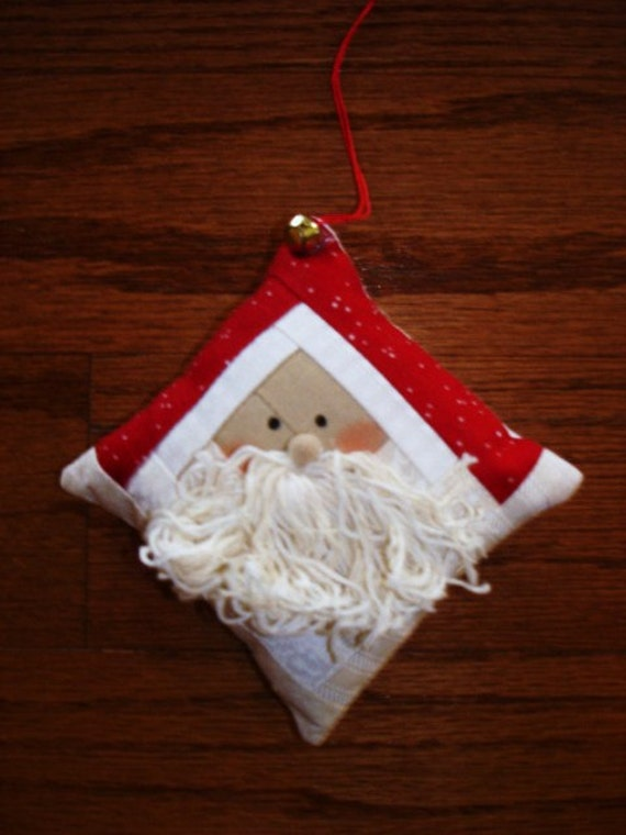 Log cabin Santa Claus Quilted Ornament Christmas