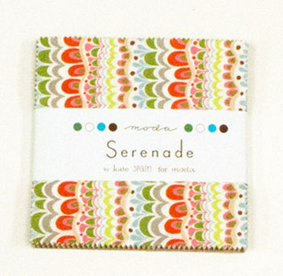 """Moda Charm pack SERENADE from Kate Spain 42 5"""" squares cotton fabric METRO floral"""