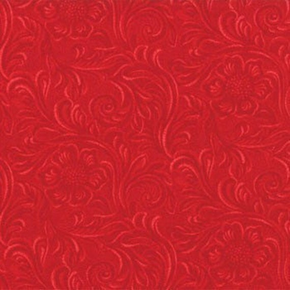 TOOLED LEATHER Bright RED 100 % cotton print one yard Moda 11216 22