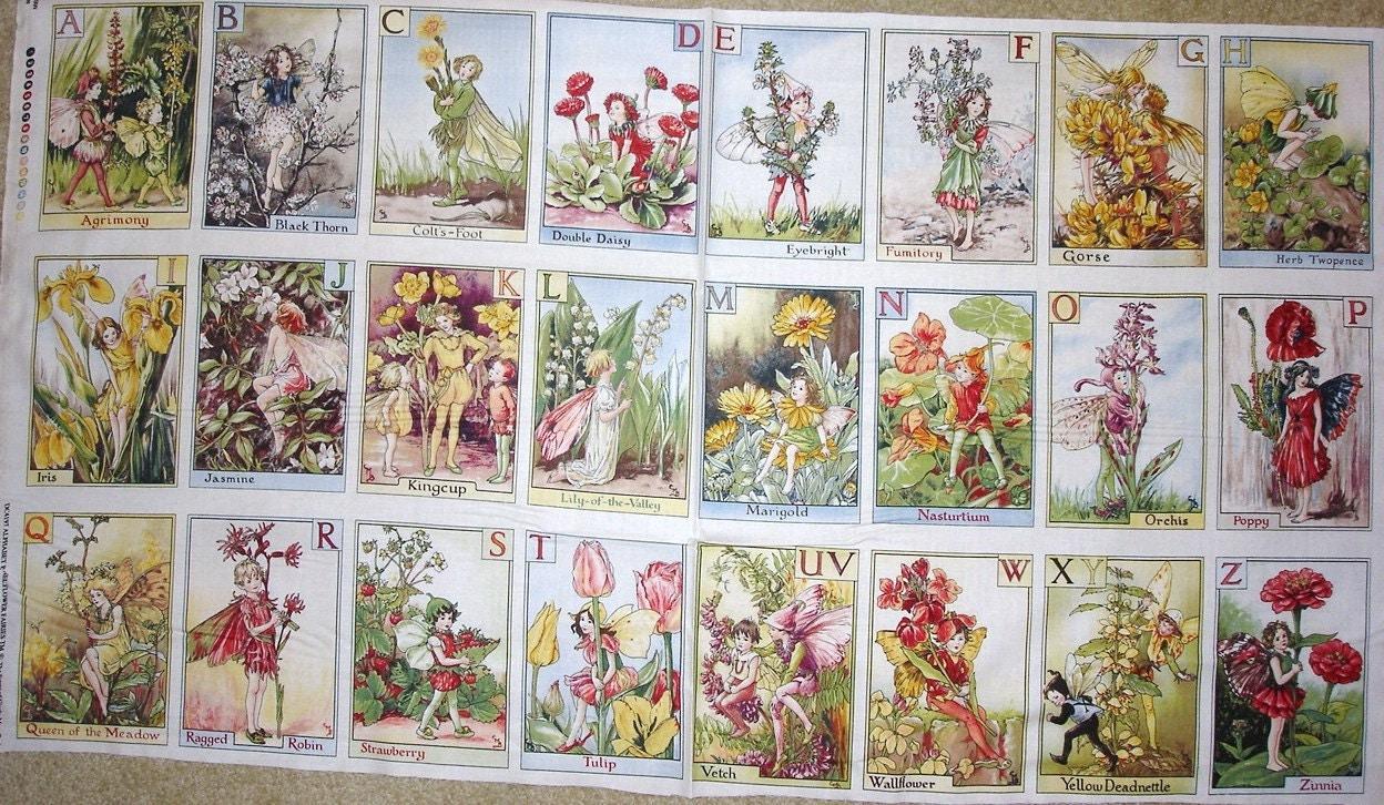 fabric panel alphabet abc flower fairy fairies from michael