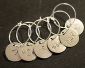Wine Charms - Personalized Custom Monogram - Wedding Shower Favor Hostess Gift Decor
