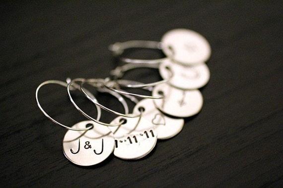 Wine Charms - Personalized Custom - Wedding Shower Favor Hostess Gift Decor