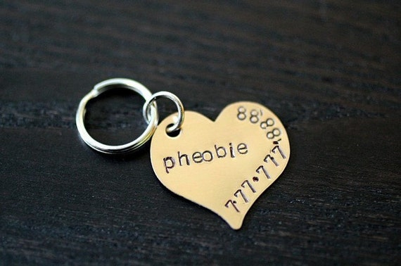LAST ONE in brass The Pheobie heart Pet ID Tag
