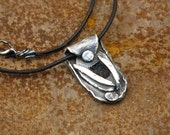 Art   Fine Silver Pendant with Black Leather Necklace For Men