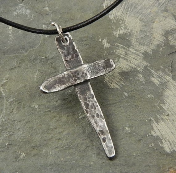 Rustic Cross Christian Rustic Industrial  Fine Silver Necklace For Men or Women