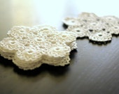 White Hand Crochet Coasters and Doily Cotton - Set of one large and six smaller free shipping