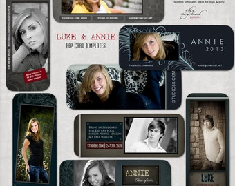 "Senior Rep Cards / Millers/ Mpixpro Lab - ""LUKE & ANNIE"" MODERN Collection - Photoshop templates for Photographers"