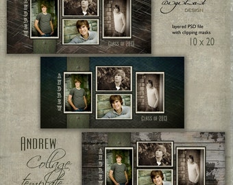 "10 x 20 Senior COLLAGE TEMPLATE - ""Andrew"" - 10x20 photo collage storyboard template for High School Senior"