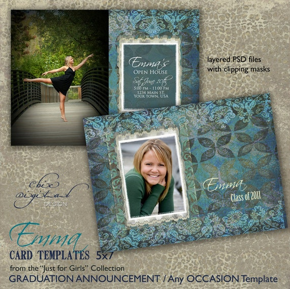 Graduation Announcement Card Template for Photographers - 5x7 Senior Graduation Invitation - Any Occasion Card -  EMMA