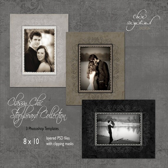 Storyboard Collage Photoshop Templates - CLASSY CHIC Storyboard Collection  - 8 x 10 templates