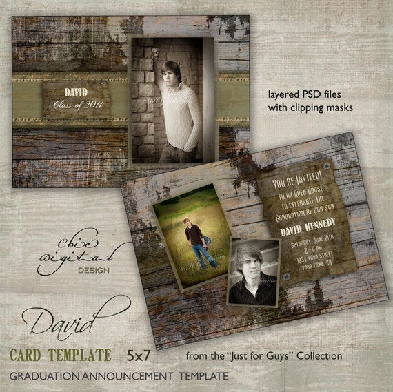graduation announcement card template for photographers just. Black Bedroom Furniture Sets. Home Design Ideas