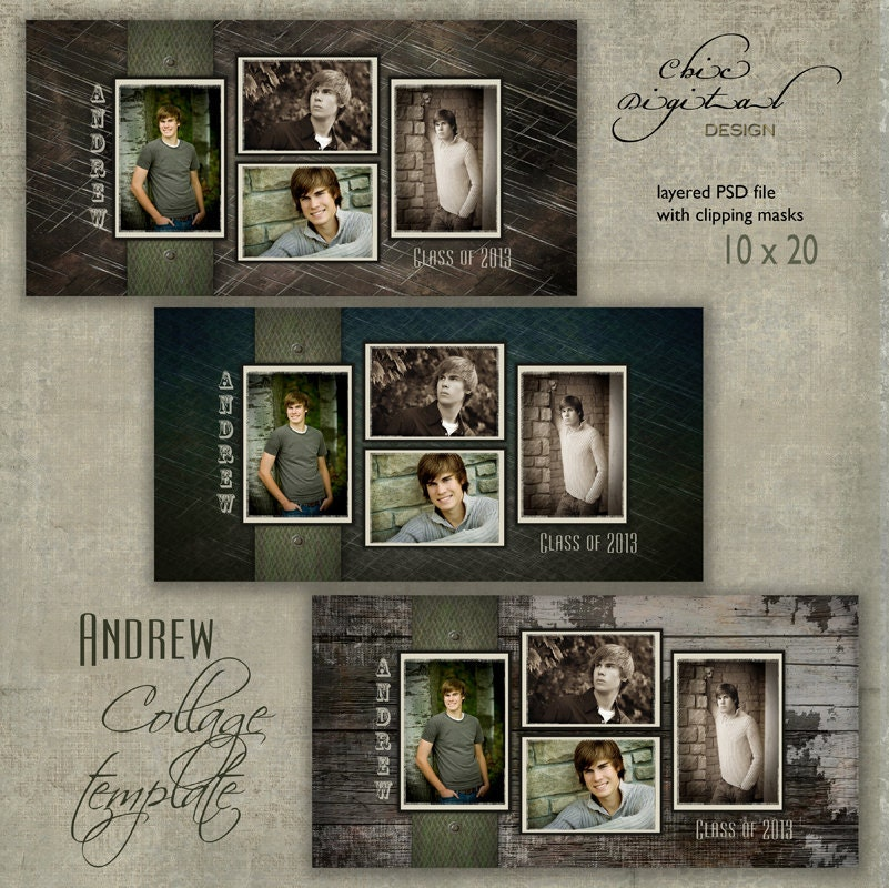 senior photo collage templates - 10 x 20 senior collage template andrew 10x20