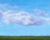 5 x 7 landscape acrylic painting blue sky purple clouds green grass