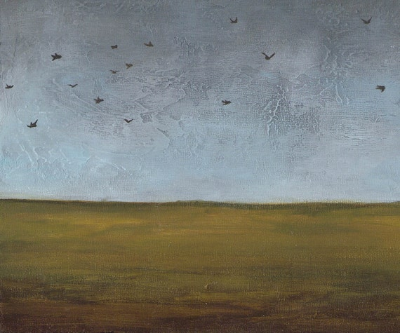 8 x 10 landscape acrylic painting blue and gray sky birds flying green ochre brown field