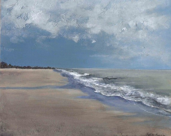 Blue Grey Ocean Clouds with Waves and Sand- 8 x 10 Ocean Storm Painting