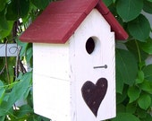 Shabby Chic, Rusty Tin Heart, with Red Roof, birdhouse
