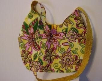 Yellow funky floral shoulder bag - P17