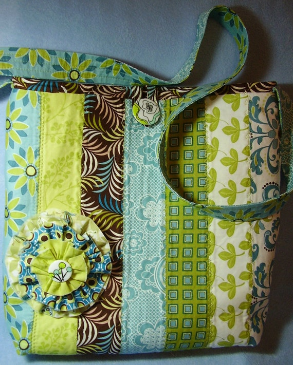 Quilted Messenger Bag in Aqua, Green and Brown - P16
