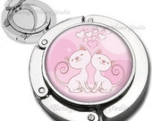 Pink Hearts and Cute Cats Foldable Purse Hook Bag Hanger With Double Sided Compact Mirror