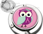 Personalized Owl With Headband Purse Hook Bag Hanger Lipstick Compact Mirror