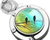 Bird Silhouettes Purse Hook Bag Hanger Lipstick Compact Mirror