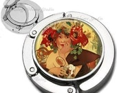 Art Deco Girl With Beer Foldable Purse Hook Bag Hanger With Lipstick Compact Mirror