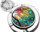 Blue Moon at Sunset Whimsical Trees Series Purse Hook Bag Hanger Lipstick Compact Mirror