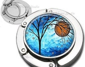 Blue Winter Orange Moon Whimsical Tree Foldable Purse Hook Bag Hanger With Double Sided Compact Mirror
