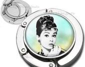 Audrey Bokeh Blur Background Foldable Purse Hook Bag Hanger  Lipstick Compact Mirror
