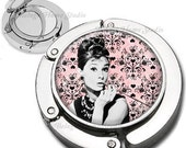 Classic Audrey Hepburn on Pink Damask Background  Foldable Purse Hook Bag Hanger With Double Sided Compact Mirror