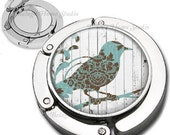 Abstract Teal  Brown Bird on Branch with Wood Grain Background Purse Hook Bag Hanger Lipstick Compact Mirror