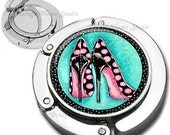 Whimsical Pink and Black Polka Dot High Heel Shoes Purse Hook Bag Hanger Lipstick Compact Mirror