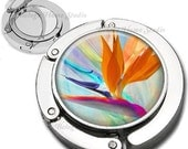 Bird of Paradise Floral Composition Foldable Purse Hook Bag Hanger With Lipstick Compact Mirror