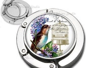 Song Bird Lilac Flowers and Bird Cage Purse Hook  Bag Hanger With Lipstick Compact Mirror