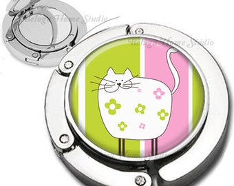 Whimsical Fat Cat on Pink and Green Striped Background Purse Hook Bag Hanger Lipstick Compact Mirror