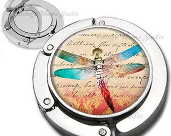 Dragonfly on Damask Handwriting Background Purse Hook Bag Hanger Lipstick Compact Mirror