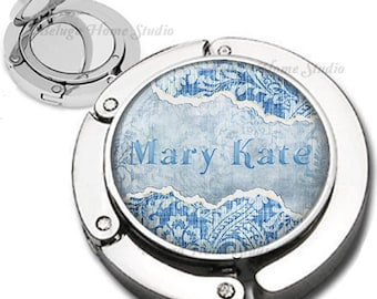 Personalized Blue Jeans and Damask Foldable Purse Hook Bag Hanger With Double Sided Compact Mirror