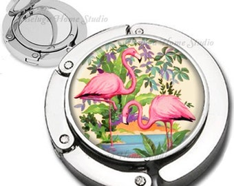 Tropical Flamingos Foldable Purse Hook Bag Hanger With Lipstick Compact Mirror