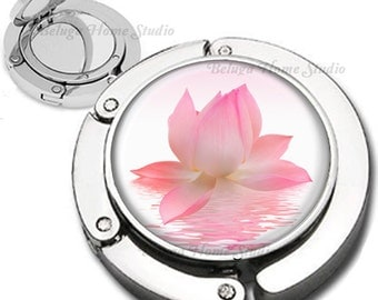 Pink Lotus Flower Purse Hook Bag Hanger Lipstick Compact Mirror